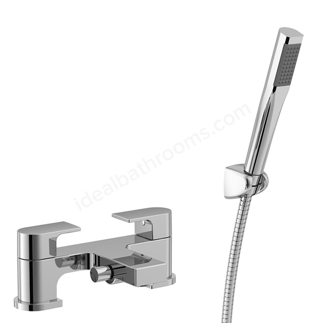 Essential DUSK Bath Shower Mixer Tap, 2 Tap Holes, Handset and Hose, Chrome