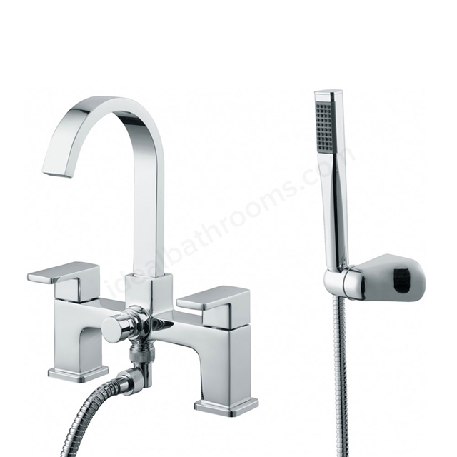 Essential STORM Bath Shower Mixer Tap, 2 Tap Holes, Handset and Hose, Chrome