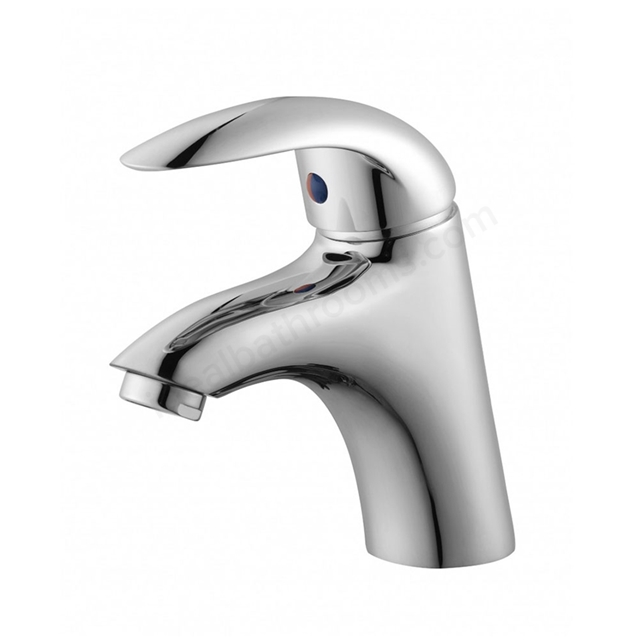 Essential SUNSHINE Basin Mixer Tap, 1 Tap Hole, Push Top Waste, Chrome