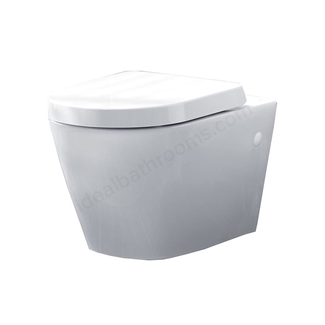 Essential IVY Wall Hung Pan + Seat Pack; Soft Close Seat; White