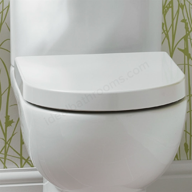 Essential LILY Toilet Seat & Cover; D Shape; Soft Close Hinge; White