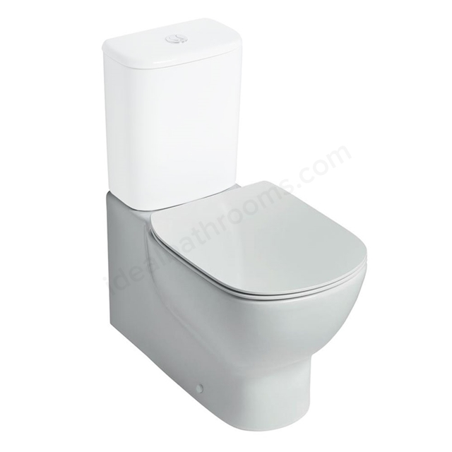 Ideal Standard TESI Back to Wall Close Coupled Toilet Pan, with Aquablade, Horizontal Outlet, White