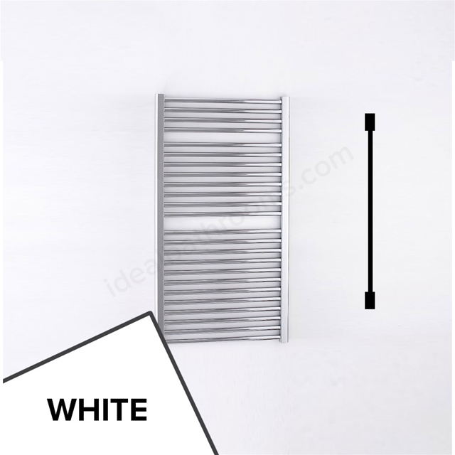 Essential STANDARD Towel Warmer; Straight Tubes; 1110mm High x 600mm Wide; White