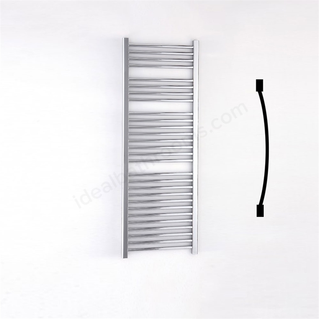 Essential STANDARD Towel Warmer; Curved Tubes; 1430mm High x 500mm Wide; Chrome