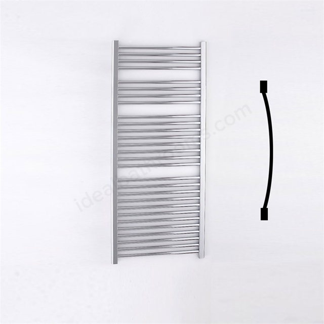 Essential STANDARD Towel Warmer; Curved Tubes; 1430mm High x 600mm Wide; Chrome
