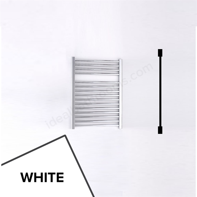 Essential STANDARD Towel Warmer; Straight Tubes; 690mm High x 500mm Wide; White