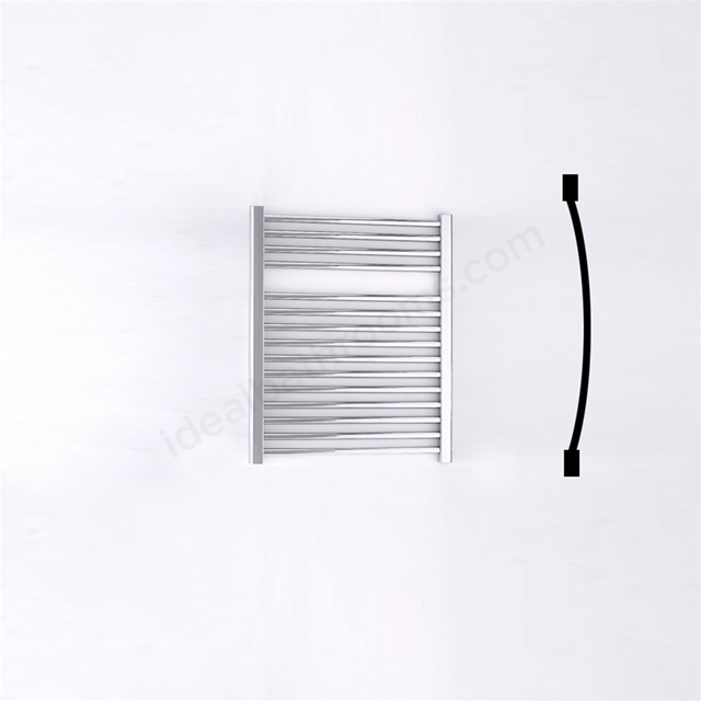 Essential STANDARD Towel Warmer; Curved Tubes; 690mm High x 600mm Wide; Chrome