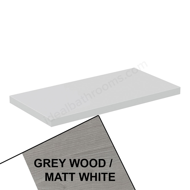 Ideal Standard CONCEPT AIR Worktop for WC Unit, 600mm Wide, Light Grey Wood / Matt White