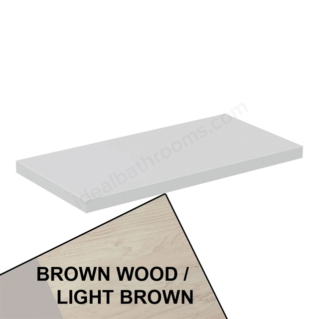 Ideal Standard CONCEPT AIR Worktop for WC Unit, 600mm Wide, Light Brown Wood / Matt White