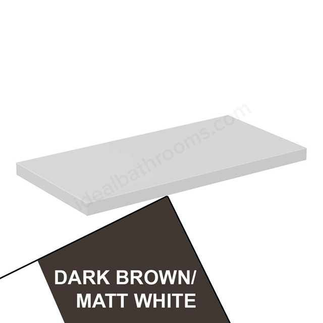 Ideal Standard CONCEPT AIR Worktop for WC Unit, 600mm Wide, Matt Dark Brown / Matt White