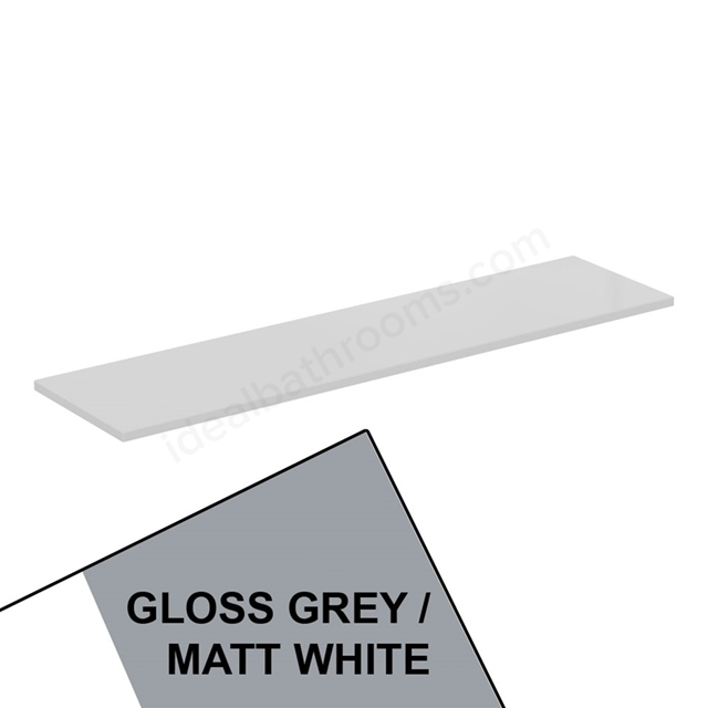 Ideal Standard CONCEPT AIR Worktop for WC Unit, 1200mm Wide, Gloss Grey / Matt White