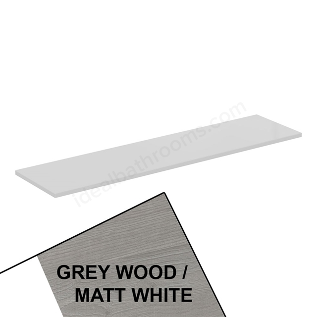 Ideal Standard CONCEPT AIR Worktop for WC Unit, 1200mm Wide, Light Grey Wood / Matt White