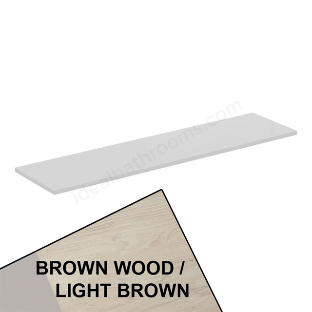 Ideal Standard CONCEPT AIR Worktop for WC Unit; 1200mm Wide; Light Brown Wood / Matt White