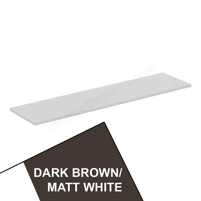 Ideal Standard CONCEPT AIR Worktop for WC Unit; 1200mm Wide; Matt Dark Brown / Matt White