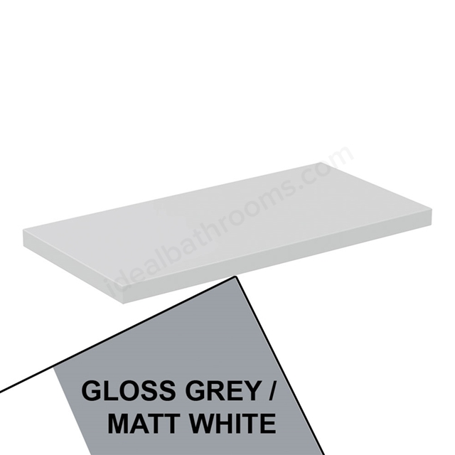 Ideal Standard CONCEPT AIR Worktop, 600mm Wide, Gloss Grey / Matt White
