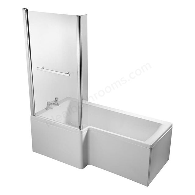 Ideal Standard CONCEPT Square Shower Bath Screen; Clear Glass; Bright Silver