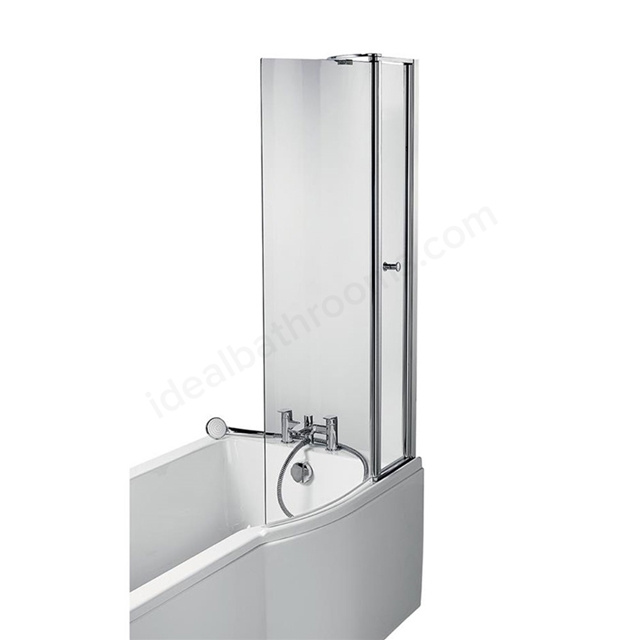 Ideal Standard CONCEPT AIR P-Shape Bath Screen, 900mm Wide, 1414mm High, Bright Silver