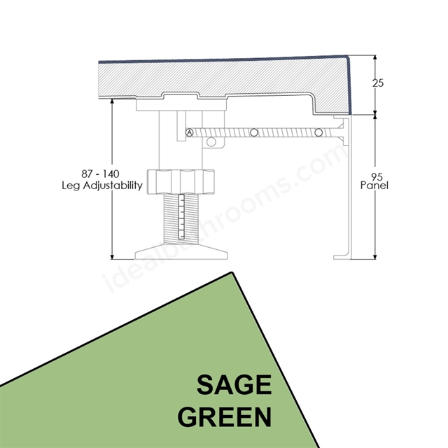 Just Trays EVOLVED Quadrant Riser Panel Kit; for Trays up-to 1000mm Wide; Sage Green