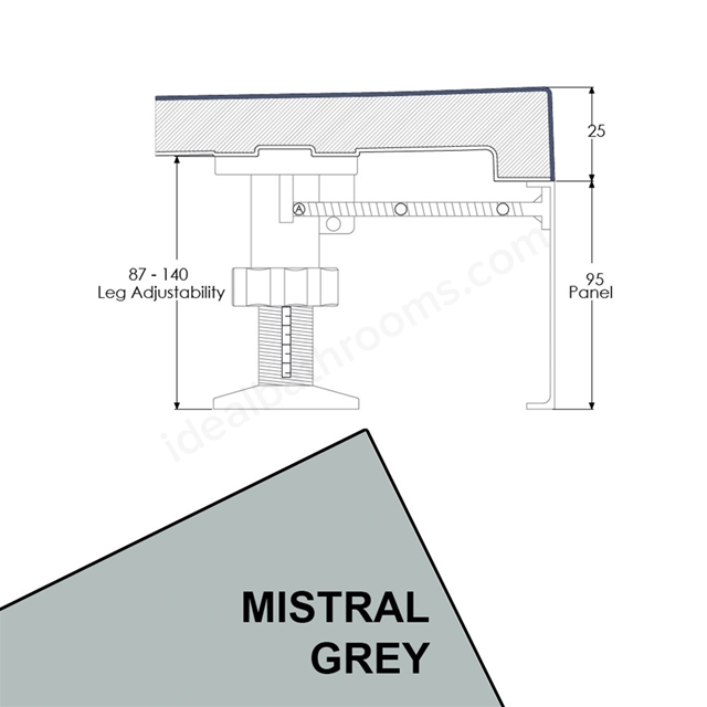 Just Trays EVOLVED Quadrant Riser Panel Kit; for Trays up-to 1000mm Wide; Mistral Grey