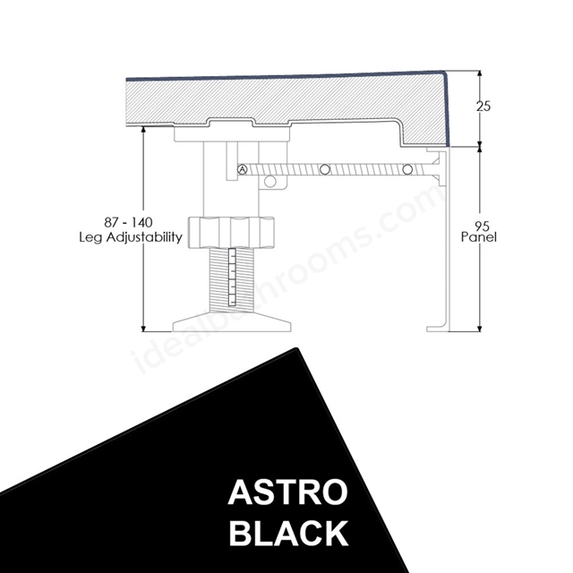 Just Trays EVOLVED Quadrant Riser Panel Kit; for Trays up-to 1000mm Wide; Astro Black