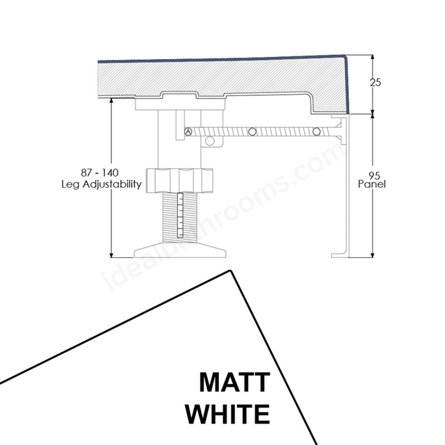 Just Trays EVOLVED Rectangular Riser Panel Kit; for Trays up-to 1800mm Wide; Matt White