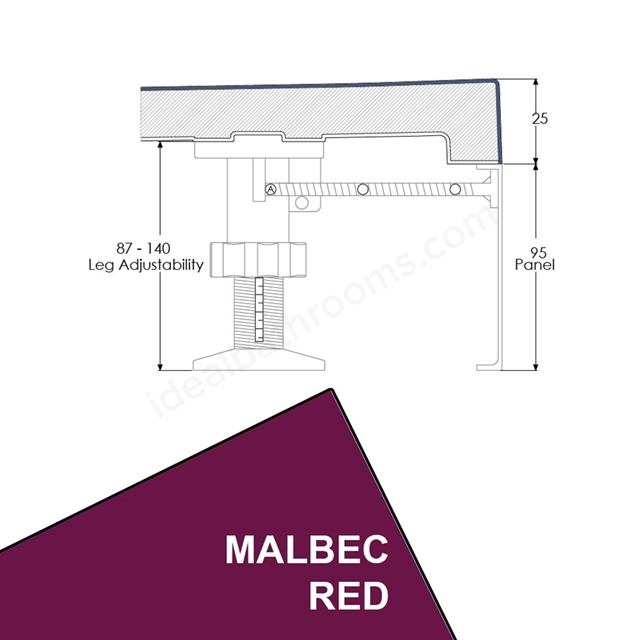 Just Trays EVOLVED Rectangular Riser Panel Kit; for Trays up-to 1800mm Wide; Malbec Red