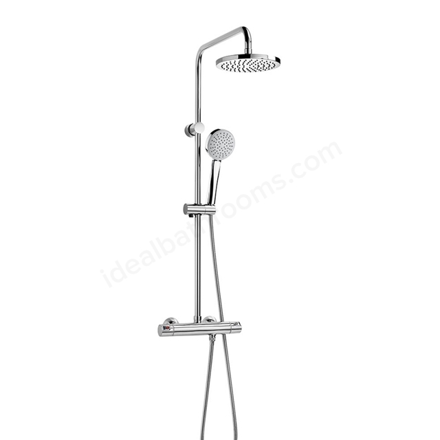 Roca VICTORIA-T Thermostatic Shower column with diverter; rose + handset; Chrome