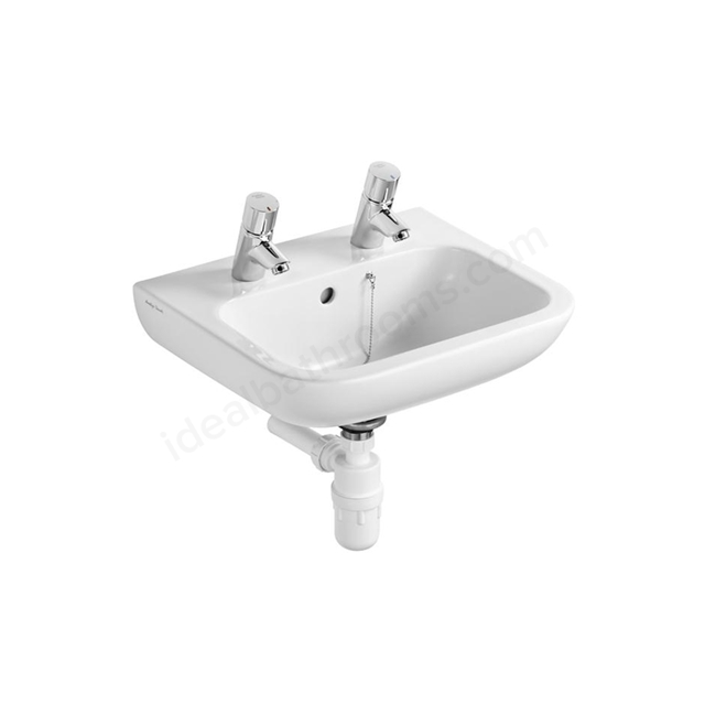 Armitage Shanks CONTOUR 21 Basin with Overflow and Chain Hole; 2 Tap Hole; 500mm Wide; White