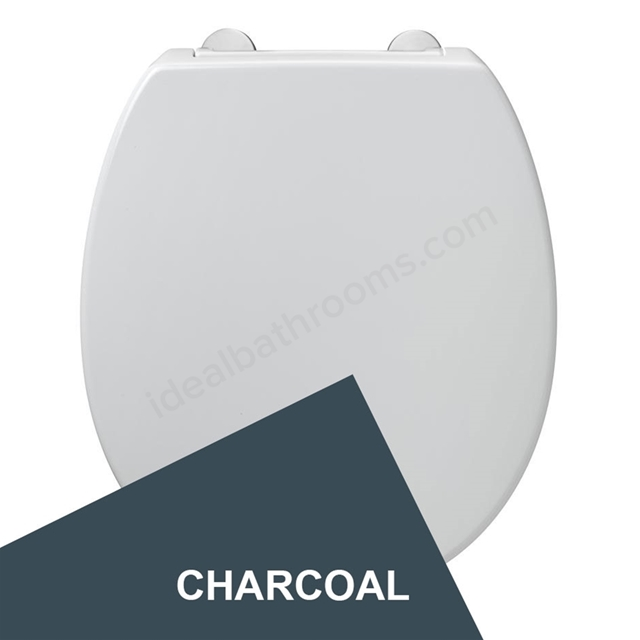 Armitage Shanks CONTOUR 21 Standard Toilet Seat and Cover; Top Fix Hinges; Charcoal