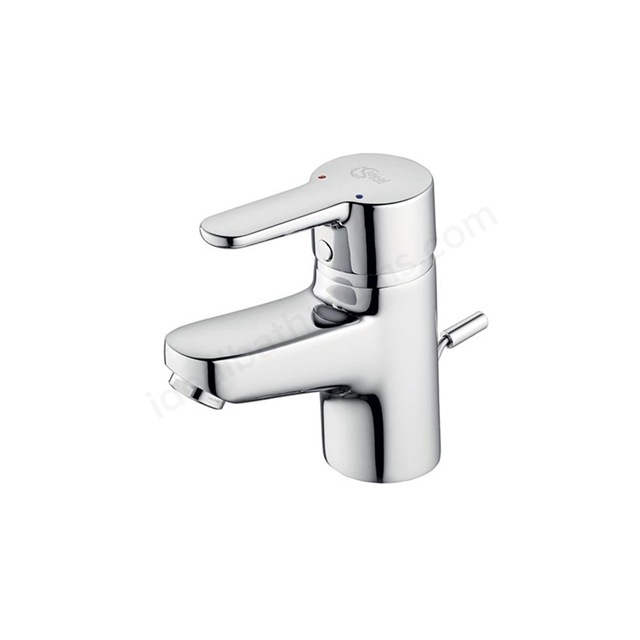 Ideal Standard CONCEPT Blue Small Basin Mixer Tap, with Pop Up Waste, 1 Tap Hole, Chrome