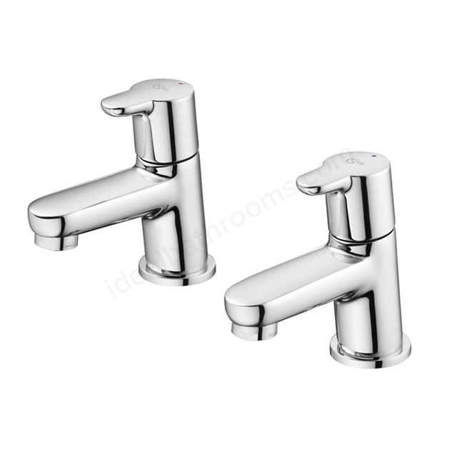 Ideal Standard CONCEPT Blue Basin Pillar Taps (Pair), Chrome