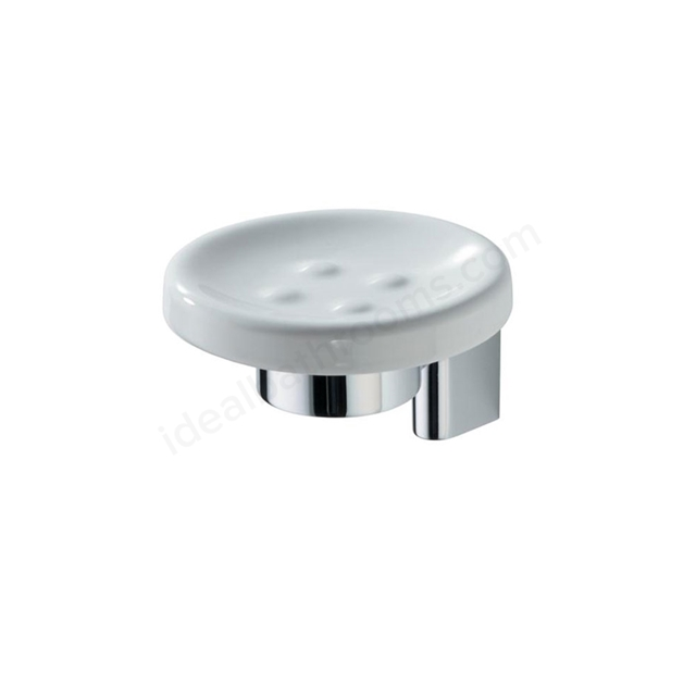 Ideal Standard CONCEPT Ceramic Soap Dish & Holder; Chrome/White