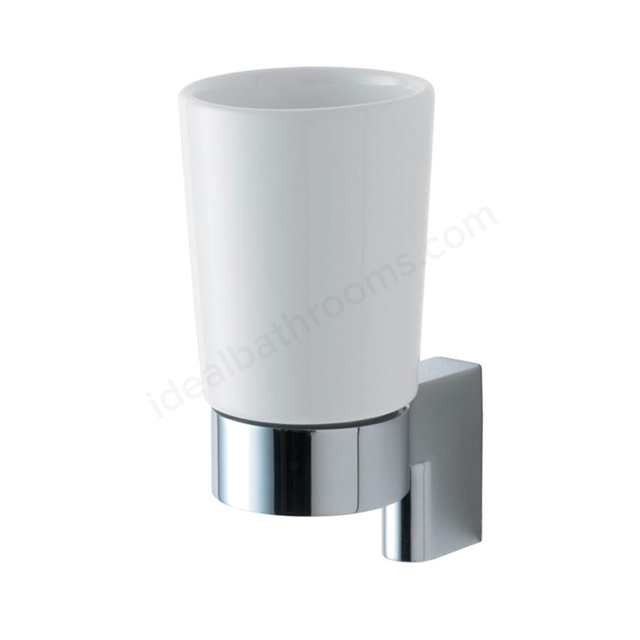 Ideal Standard CONCEPT Ceramic Tumbler & Holder; Chrome/White