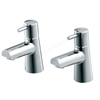 Ideal Standard CONE Blue Basin Pillar Taps (Pair); Chrome