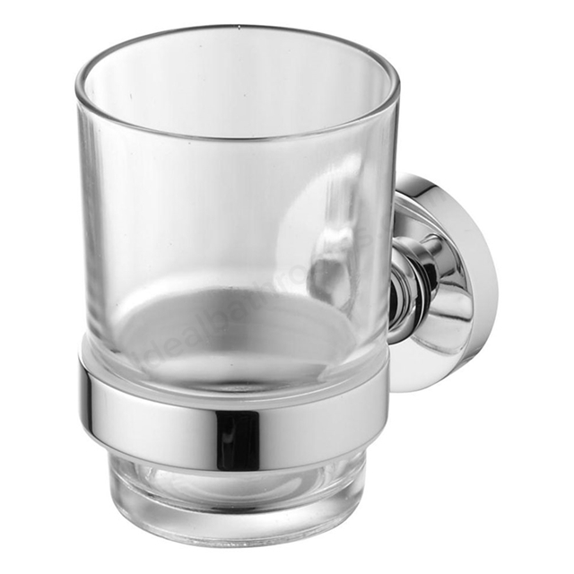 Ideal Standard IOM Tumbler And Holder, Transparent Glass, Chrome