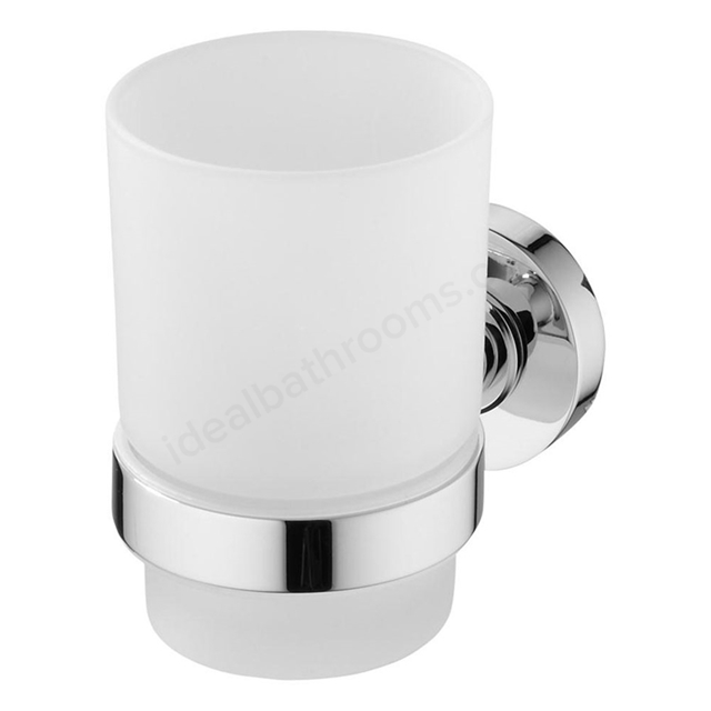 Ideal Standard IOM Tumbler And Holder; Frosted Glass; Chrome