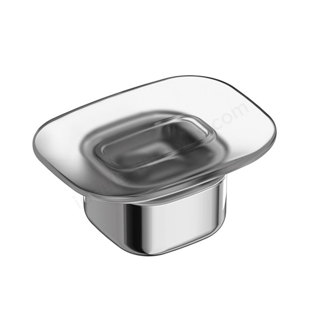 Ideal Standard SOFTMOOD Frosted Glass Soap Dish & Holder; Chrome