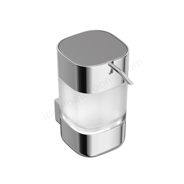 Ideal Standard SOFTMOOD Frosted Glass Soap Dispenser & Holder, Chrome