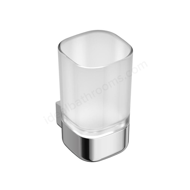 Ideal Standard SOFTMOOD Frosted Glass Tumbler & Holder; Chrome