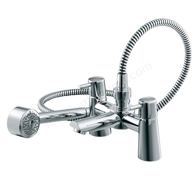 Ideal Standard CONE Bath Shower Mixer Tap, Includes Shower Kit, 2 Tap Hole, Chrome