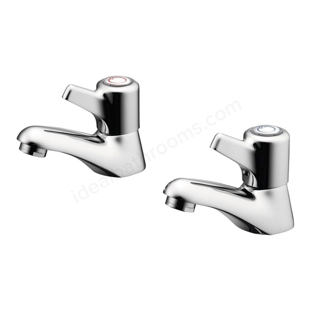 Ideal Standard ELEMENTS Blue Basin Pillar Taps (Pair), with Lever handles, Chrome