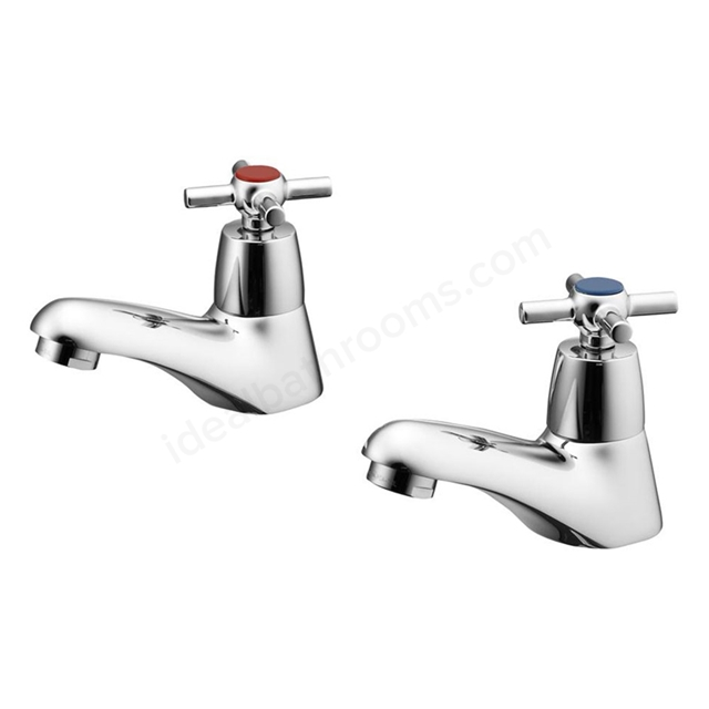 Ideal Standard ELEMENTS Blue Basin Pillar Taps (Pair), with Cross handles, Chrome