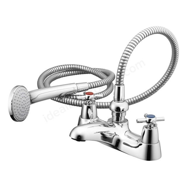 Ideal Standard ELEMENTS Bath Shower Mixer Tap, with Cross Handles, Includes Shower Kit, 2 Tap Hole, Chrome