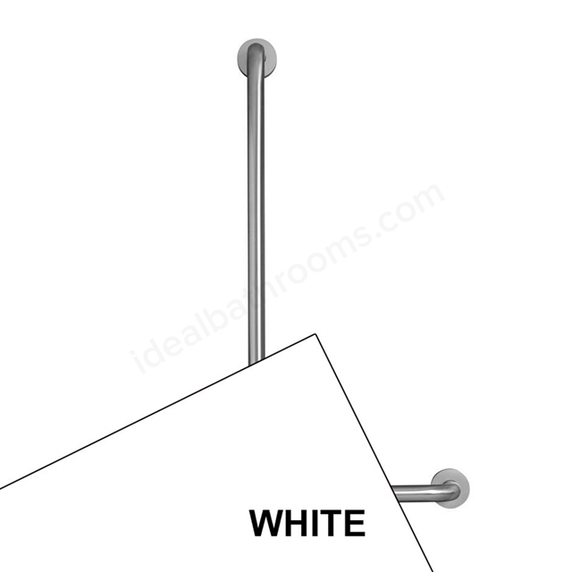 Armitage Shanks CONTOUR 21 Angled Shower Grab Rail, Left Handed, 900x400mm, White