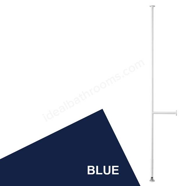 Armitage Shanks CONTOUR 21 Floor to Ceiling Grab Pole with 400mm Wall Stay, Blue