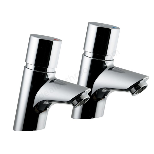 Armitage Shanks CONTOUR 21 Self Closing Basin Taps (Pair), with Dual Indices, Chrome