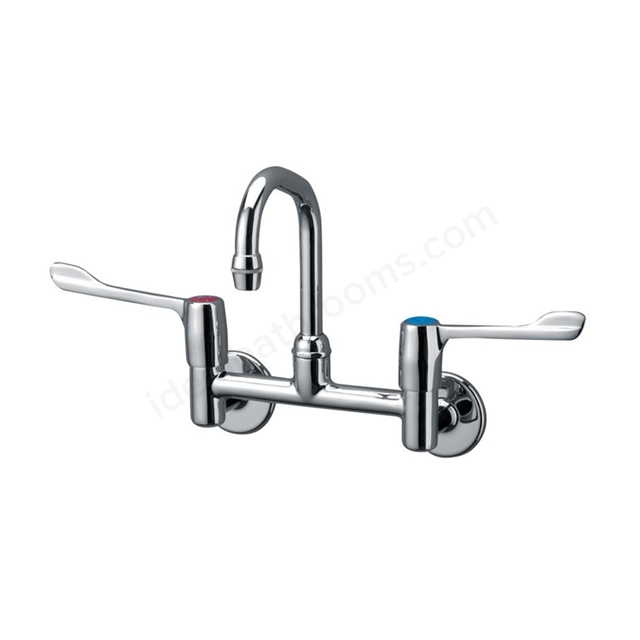 Armitage Shanks MARKWICK Dual Control Swivel Anti Splash Spout Wall Basin/Sink Mixer with Concealed Inlets, 150mm Levers, Chrome