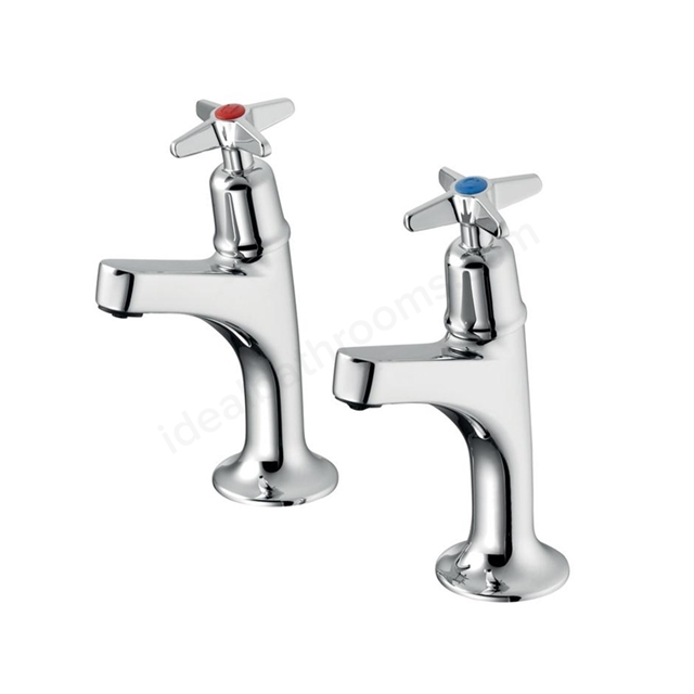 Armitage Shanks SANDRINGHAM 21 High Neck Pillar Taps (Pair) with Crossheads, Chrome