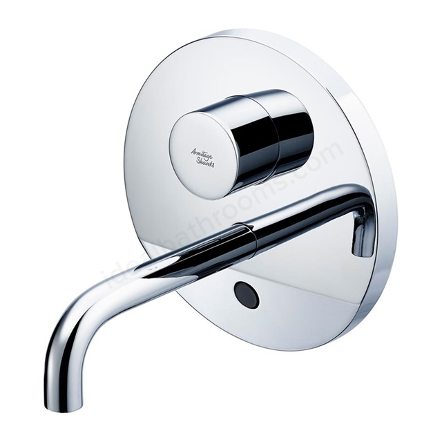 Armitage Shanks SENSORFLOW WAVE Thermostatic Basin Mixer Wall Mounted 150mm Spout without User Adjustment, Mains Powered, Chrome