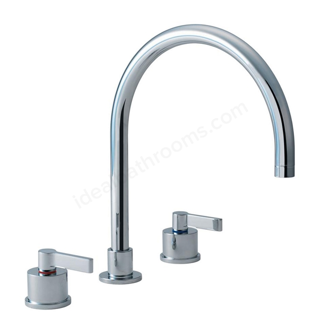 Ideal Standard SILVER Kitchen Mixer Tap; 3 Tap Hole; Chrome